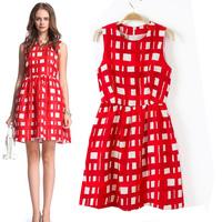 Free shipping+ 2014 female summer elegant plaid slim waist sleeveless one-piece dress 1141081090