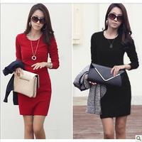 Free shipping+ 2014 spring women's slim ol basic  elegant plus size female long-sleeve dress