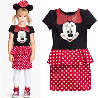 Puff Girls Spring 2014 chiffon dress three-piece t-shirt + skirt + necklace dress retail Free Shipping
