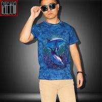 2014 summer fashion cotton 3D Dolphins print men's short-sleeve t shirt brand mens t-shirts European style wholesale tee shirts