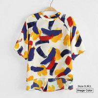 HZA071 Brand New Fashion Women Elegant multicoloured Print Short Shirts O-neck Short Sleeve Chiffon Casual Loose Blouses Tops