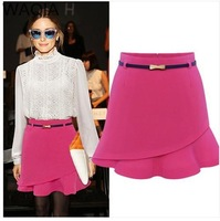 2014 New Promotions Womens vogue pathwork cotton regular skirts solid cute casualasymmetrical girl spring skirts JU