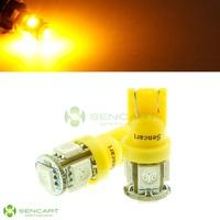 10pcs/Lot DC 12V T10 5-5050 SMD Yellow Amber Lights LED Bulbs For Side Mark Instrument  Signal Light Lamp