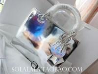 Mirror d genuine leather cowhide d or five grid handbag shoulder bag