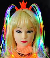 Light-Up Hair Extension Noodle Headband LED Flashing Rave Braid Bachelorette
