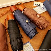 free shipping 2014 new arrival five folding Umbrella vintage wooden handle anti uv sun umbrella