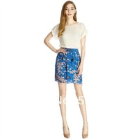DS-S004  Fashion women printed pleated skirts,  summer skirts, print skirt, knee length, high quality