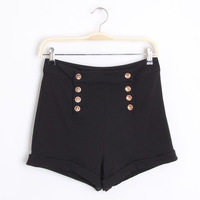 NEW 2014 Women's high waist slim all-match elastic double breasted casual 100% cotton short trousers  The fashion leisure shorts