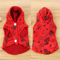 Puppy Dog Cat Fleece Red Hoodie Sweater Pet Clothes Winter Apparel Coat Jacket Drop Free Shipping
