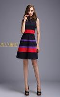 New 2014 Spring Women's Striped Bodycon Cute Sleeveless Dress Celebrity Knee-length Prom Dresses Vestidos Free Shipping