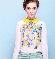 2014 new spring spot printing Slim thin long-sleeved chiffon blouse shirt Puff female