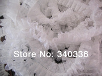 2.5CM cheap polyester ruffler lace organza embroidery white garment accessories textile crafts factory wholesale free shipping