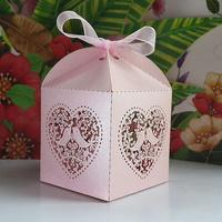 50pcs/lots Laser Cut Birdcage Wedding Favor Box(Pink pearlescent Paper)pink love birds wedding box, party shower favor candy box