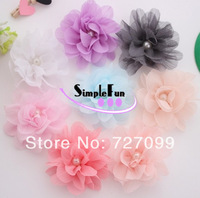 Free Shipping!! 3 Inch Soft Chiffon Flower with Beads without Clip Mix Color 40pcs/lot