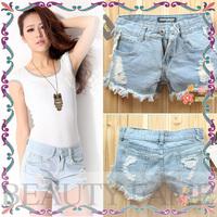 2014 spring new Korean female fashion denim shorts Burrs hole tassel jeans women shorts hot pants