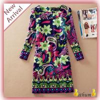 Summer dress New 2014 women dress long print dresses Fashion flower Folk Plus size XXXXL
