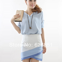 Karen Summer Dresses Casual Dress Elegant Slim Hip Dress Twinset Women's Working Plus Size S-XL OL V Neck Blue Dress for Ladies