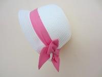 2014 New Children Summer Hat Kids H&*Bow Straw hat  Sunbonnet Cap Baby Hat Girls Beach Cap 50,52,cm