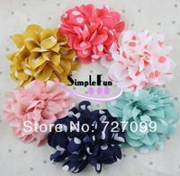 Free Shipping!! 5 inch polka Dot Chiffon Fabric Flower Baby Garment Hair Bow Mix color 40pcs/lot