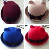 Woolen cap cat ears roll-up hem bow pure woolen women's small round fedoras