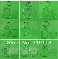Wholesale Free shipping 50 pcs/lot Blank Acrylic Keychains Insert Photo plastic Keyrings Square Key Rectangle heart circular