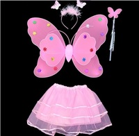 FREE SHIPPING Princess costume dance skirt double layer butterfly wings tulle dress piece set