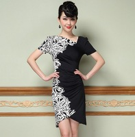 Guaranteed 100% 2014 Summer Autumn New Korea Fashion Women's Plus Size Flower Print Dresses Knee-Length Elegant Casual Clothing