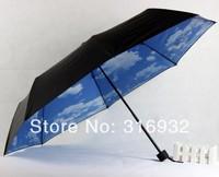 Super Anti uv Umbrella Blue Sky 3 Folding Creative Parasols Manual Rain Umbrellas For Women Men Free Shipping