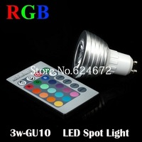 3W GU10 16 Colour AC85~265V  LED Bulb Light Spot Light LED Lamp +Remote controller