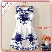 New 2014 Spring girl print dress brand Vintage Style Women dress Fashion White Sleeveless Porcelain Print Flare flower Dresses