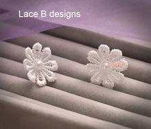 Mini Flower Crystal Pearl Lace Flower Earrings Bridal Wedding Marriage Party Earrings Accessory