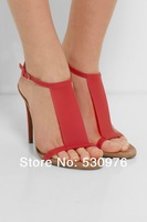 European American style 2014 new translucent plastic high quality sandals in summer 11cm heel girls sandals free shipping