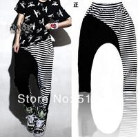2014 New Spring Fashion Women's Hip hop Harem Pants Cotton Sport Loose Trousers Striped Sweatpants FREE SHIP