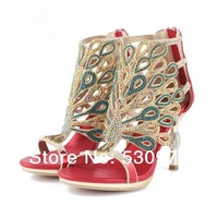 High class  goddess luxury costly diamond peacock sandals with 9 cm heel for women free shipping