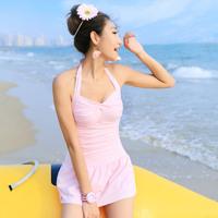 Free shipping! New fashion lady women's pink One-piece sexy swimsuit With short skirt  good quality swimwear brands beachwear