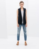 New Spring Women Fashion Solid Spliced Chiffon On Back White Outerwear ,Ladies Casual Signle Button Transpaent Vest mj03