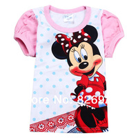 6PCS / LOT Wholesale BABY Summer Hot Girl O-Neck kids Cotton Polka Dot Puff t-shirt  Free shipping