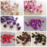 Hot ! 100Pcs Simulation Of Small Tea Rose Silk Flower Simulation Rose Flower Head DIY Wedding Flowers HUA101