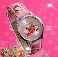 2014 New Brand Women's Leather Strap Hello Kitty Quartz 3 Colors Children Cartoon Watches Girl Dress gaga deals