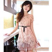Women Chiffon Pink Dress 2014 New Korean Version Summer Floral Dress,Short-Sleeved Lace Dress With Belt