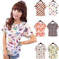 2014 New Fashion Sexy Women Colorful Birds Chiffon Batwing Loose Blouse Casual Tops Autumn Summer Lips/Heart Sale Shirt
