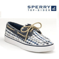 Sperry women's shoes sailing shoes navy plaid bubble yarn lacing canvas casual shoes