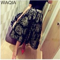 High Quality 2014 New Womens vogue skirts floral fashion skirts cute fashion long cute lady print flower A-line girl skirts WA