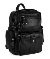 FREE Ship Factory Price Fashion Men's Black Full Grain Real Leather Genuine Leather Backpack Travel Bag School Bag Book bag M150