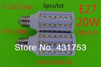 NEW 5pcs/lot 20W E27 5730 SMD 71 LED Chip Cool White/warm white LED Energy Saving Corn Light Lamp Bulb 110V / 220V+Free Shipping