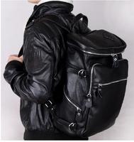 FREE Ship Wholesale Retail Fashion Men's Black Full Grain Real Leather Backpack Travel Bag School Bag Book bag M153