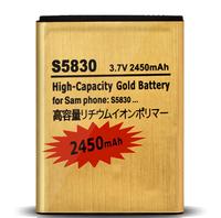 1Pcs/Lot New High Capacity 2450mAh Golden S5830 Battery For Samsung Galaxy Ace S5830 Galaxy Gio S5660 EB494358VU batters