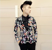 Suits Blazer 2014 New Spring Designer Brand Fashion High Quality Men  Lily Floral Business Dress Luxury Suit Jacket  N0448