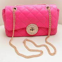 2014 new  women's handbag summer small plaid chain rhinestone one shoulder cross-body small bags  free shipping