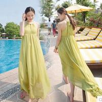 Free shipping  New Fashion 2014 Women Summer Sleeveless Long Chiffon Bohemian Beach Pink Green Dress Brand vestidos de fiesta